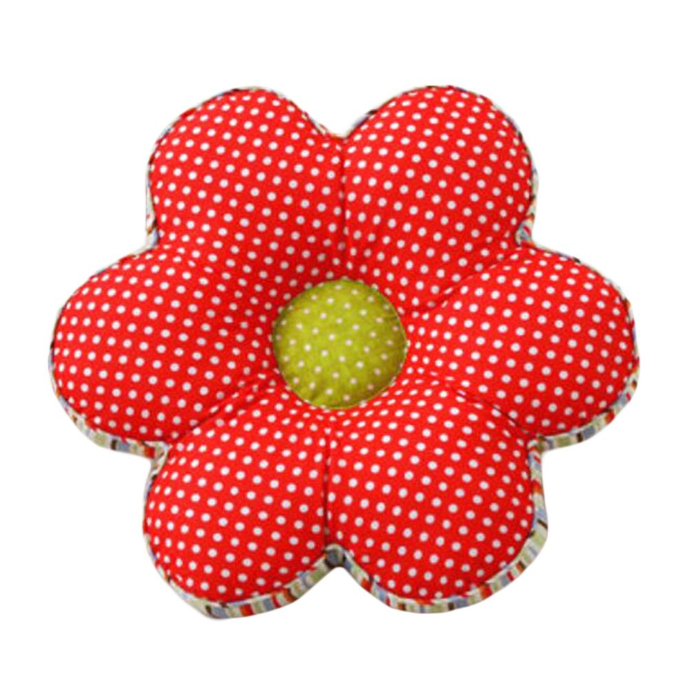 George Jimmy Flower Back Pillow Soft Cushion Office/Car Cotton Tatami Floor Cushion-Red