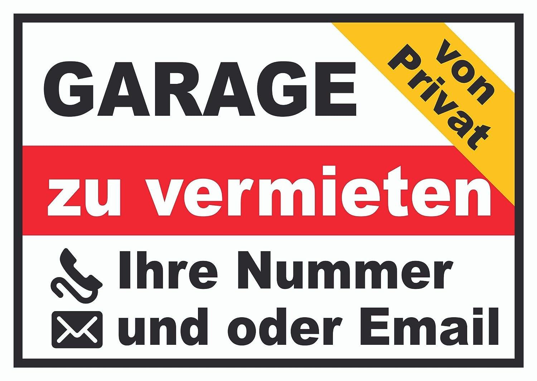 HB-Druck Garage zu vermieten von privat Schild A0 R/ückseite selbstklebend