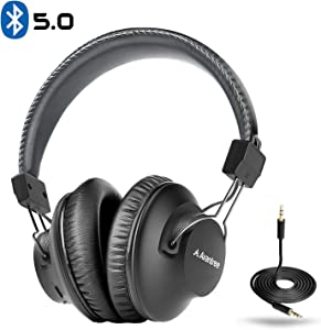 Avantree Audition Bluetooth 5.0 40 hr Wireless/Wired Over Ear Headphones with Mic for Computer TV Watching, Extra Comfortable & Lightweight, HiFi Stereo Headset for PC Laptop Cell Phone – Gray