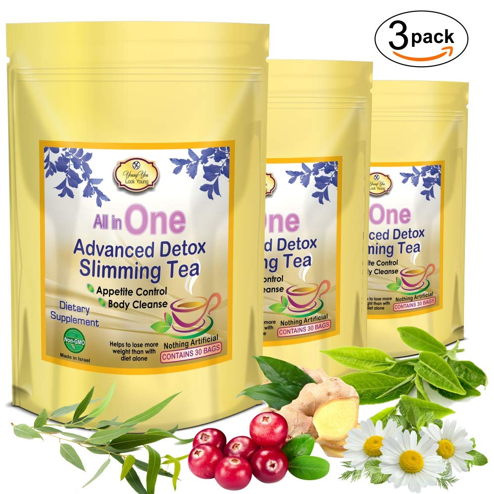 All in One Weight Loss Tea - Detox and Cleanse - Appetite Suppressant, Energy Booster, and Colon Cleanser. 3 Packs by YoungYou International