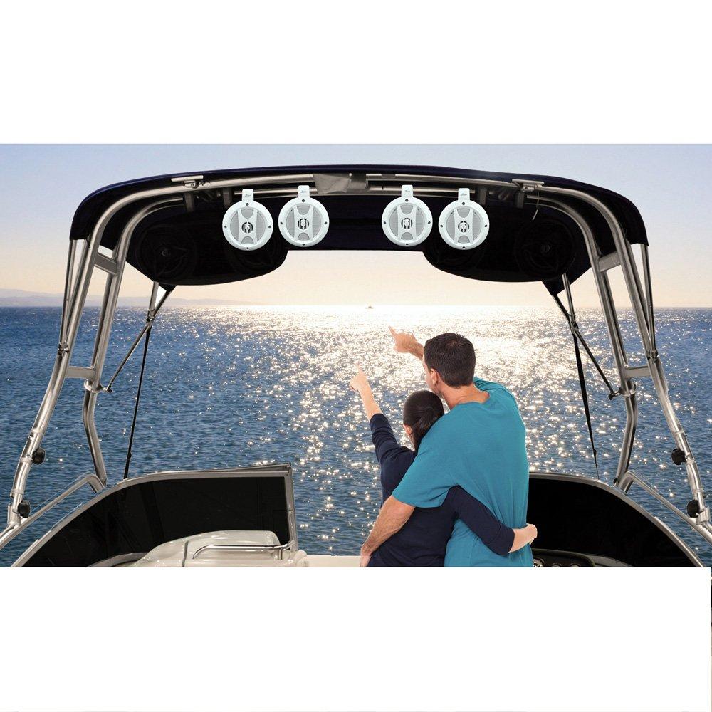 Upgraded 4'' Lanzar Two-Way Boat Speakers, Marine Amplifier 4 Channel, Mountable, Waterproof, Bluetooth, Wireless Streaming Music, Great For UTV/ATV/Snowmobile/Wakeboards, Set Of 4 (OPTIUTVA10B)