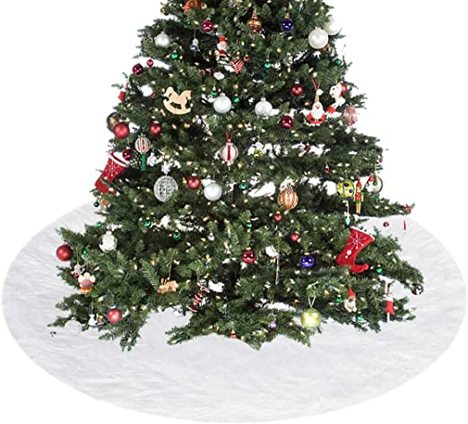 Modaka árbol de Navidad Falda cm. 120 cm Suave Nieve Blanco ...
