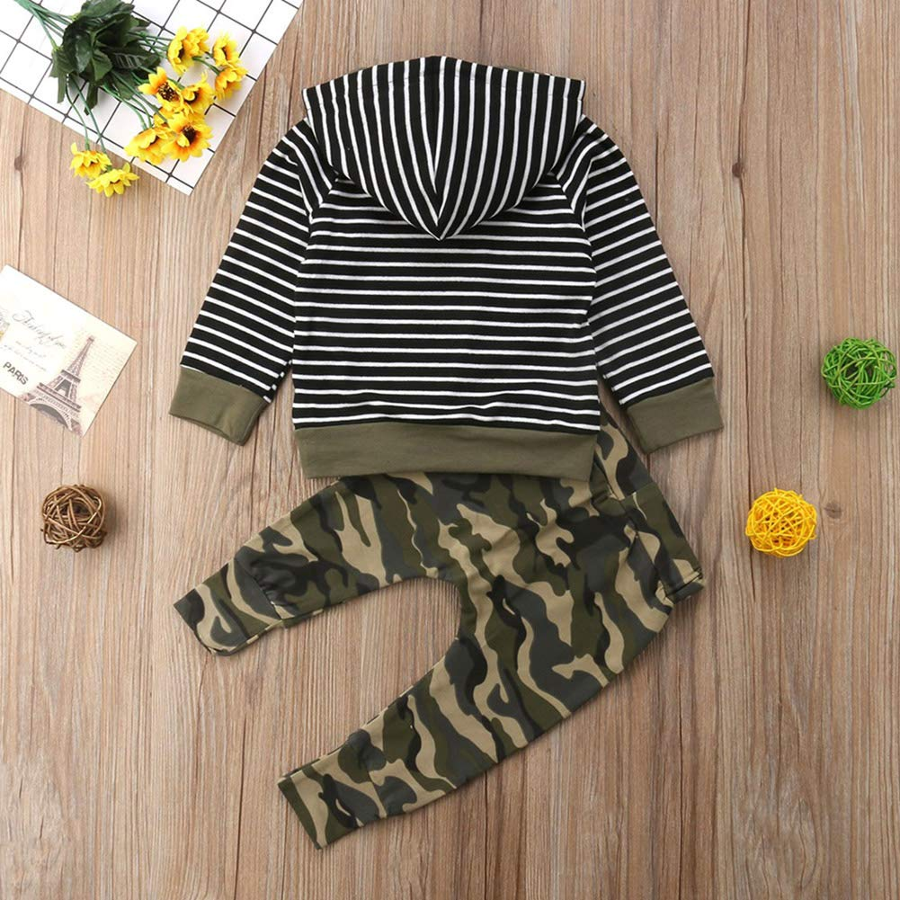 Miwear Toddler Outfits Baby Boys Long Sleeve Stripe Hoodie Tops Camo Pants Set