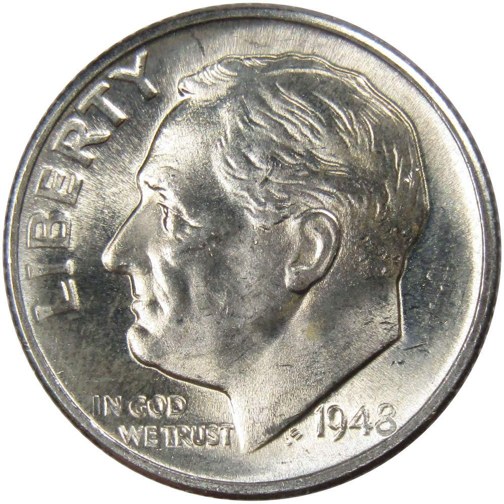 1948 S 10c Roosevelt Silver Dime US Coin Uncirculated Mint State