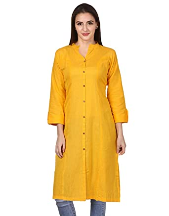 Vastraa Fusion Women Solid Straight Cotton Khadi Kurta/Kurti - Available in 25 Colour and 9 Size Options Maternity Kurtas & Kurtis at amazon