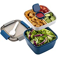 Freshmage Salad Lunch Container To Go, 52-oz Salad Bowls with 3 Compartments, Salad Dressings Container for Salad…