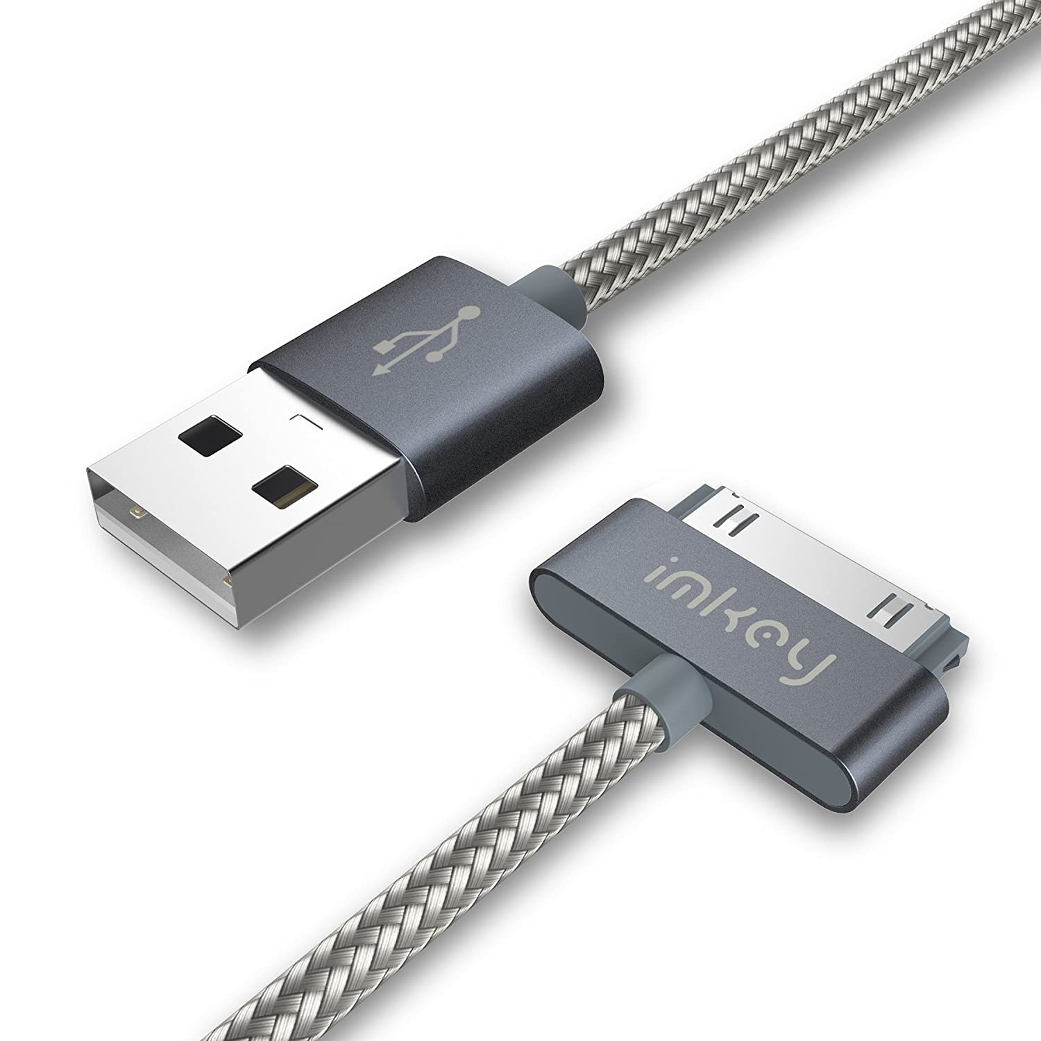 IMKEY Apple Certified 6.5 Feet 30-Pin To USB Sync and Charging Cable for iPhone 4 / 4S, iPhone 3G / 3GS, iPad 1 / 2 / 3, iPod - (Gray)