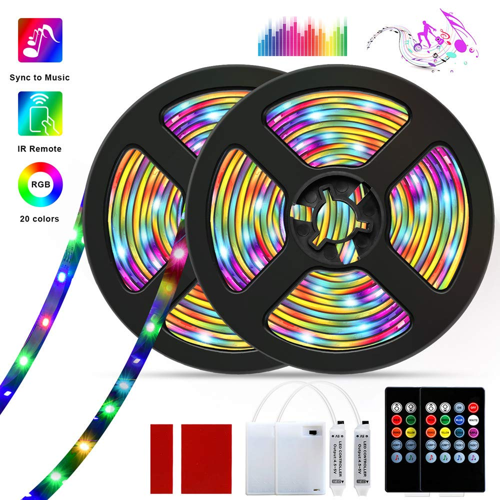 LED Strip Lights, Barhootao RGB LED Light Strip Battery Operated, Music Sync 3.28FT/1M 5050SMD Color Changing Rope Lights Waterproof LED Tape Lights Kit with Remote for Party Room (2Pcs) by Barhootao