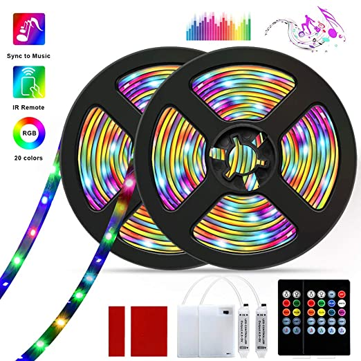 Barhootao Led Strip Lights Rgb Led Light Strip Battery Operated Music Sync 5050smd Color Changing Rope Light Waterproof Led Tape Lights Kit With