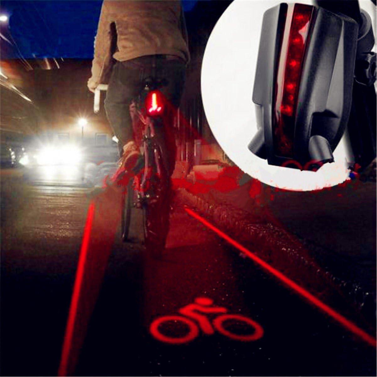 2 Laser+5 LED Rear Bike Bicycle Tail Light Beam Safety Warning Red Lamp light