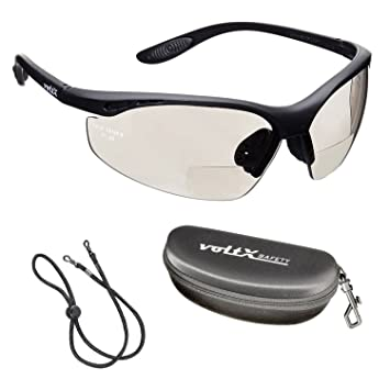 voltX 'CONSTRUCTOR' BIFOKALE Schutzbrille mit Lesehilfe CE EN166F zertifiziert/Sportbrille für Radler (KLAR +2.5 Dioptrie) enthält Sicherheitsband kVrkRCU