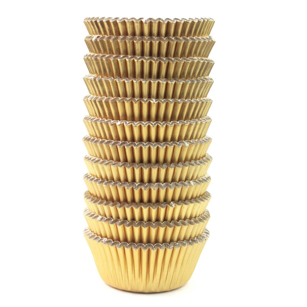 Eoonfirst Mini Foil Metallic Paper Cupcake Cup Liners/Baking Cups 300 Pcs (Gold)