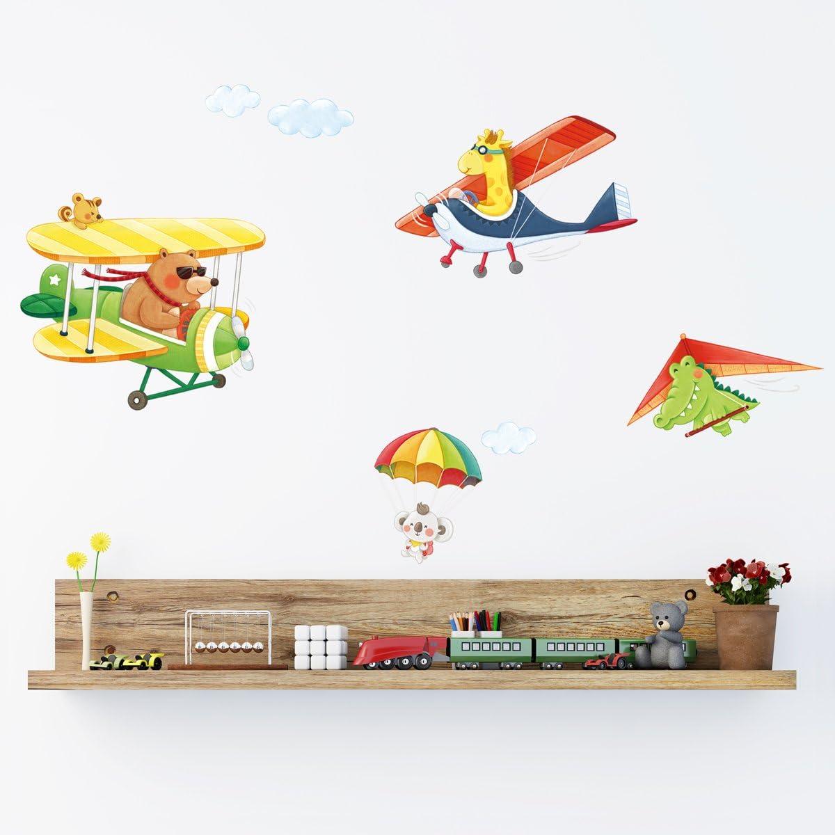 DECOWALL DA-1506C Biplans Animaux avec Deltaplane Autocollants Muraux Mural Stickers Chambre Enfants B/éb/é Garderie Salon