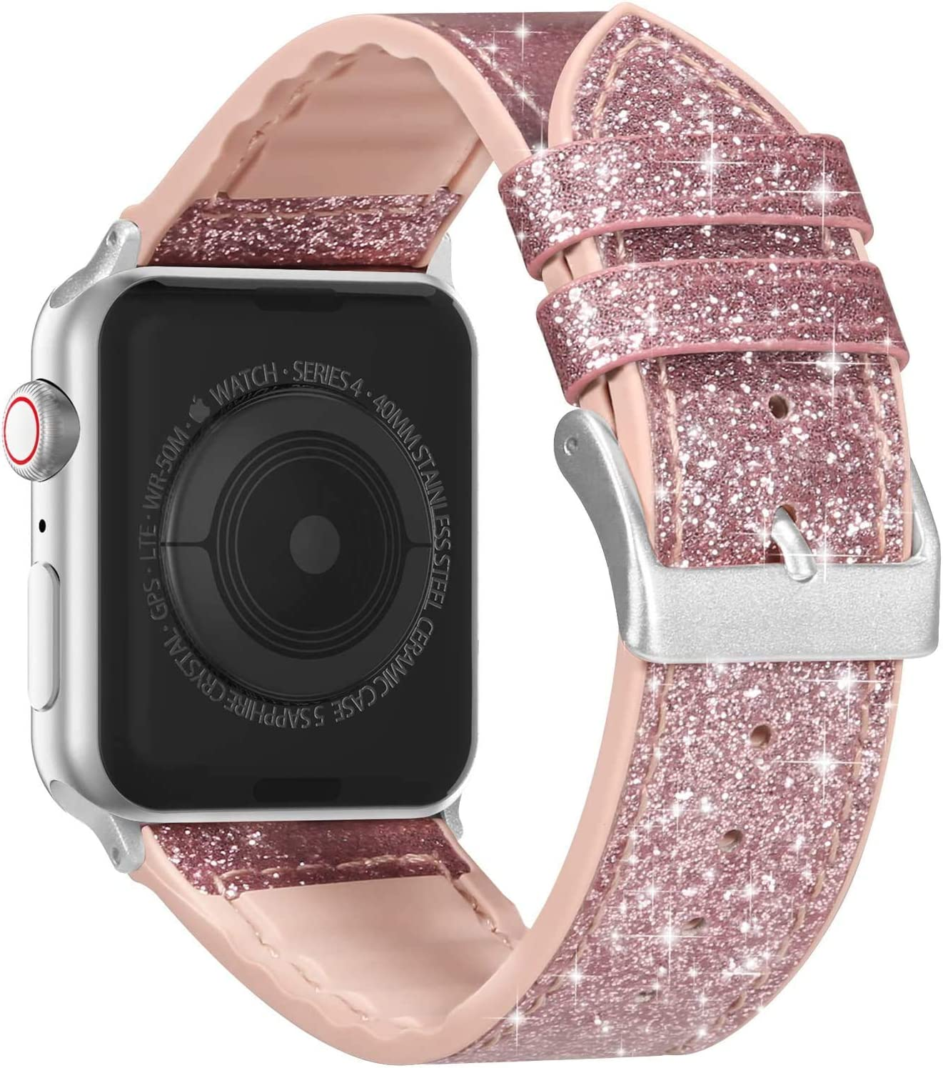 Compatible with Apple Watch Band 38mm 40mm 42mm 44mm, CTYBB Blingbling Sweatproof Genuine Leather and Silicone Band for iWatch SE Series 6 5 4 3 2 1, (Rose Gold/Silver, 38mm 40mm)