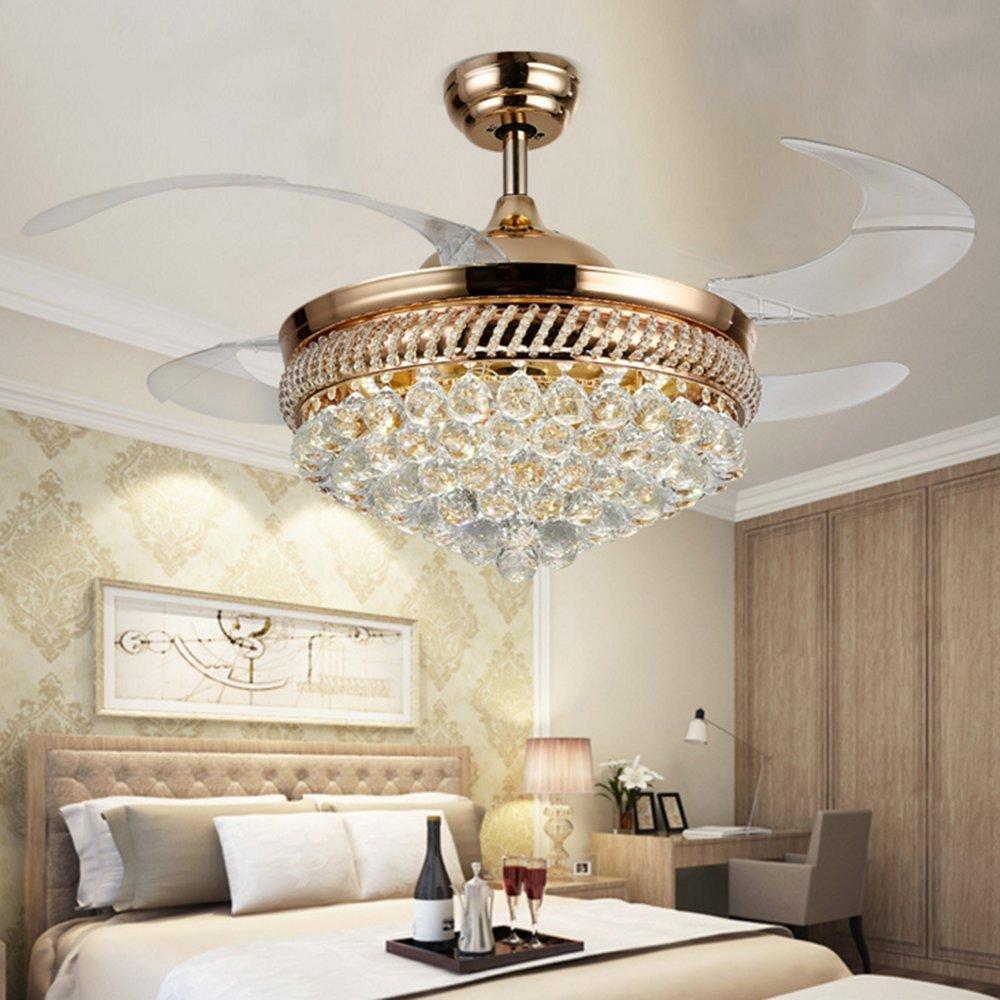 RS Lighting Unique Ceiling Fans K9 Crystal European Luxury Retractable Ceiling Fan Chandelier for Living Bed Restaurant Room Villa-Golden