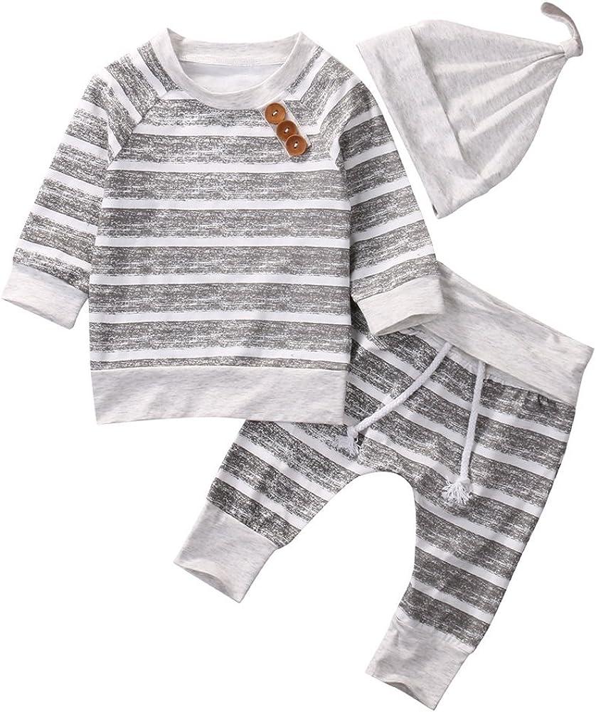 Brightup 2018 Herbst Neugeborene Jungen M/ädchen Kleidung Striped Tops T-Shirt Hosen Leggings mit Hut Cap
