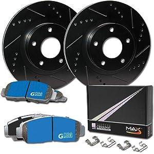 Max Brakes Front Supreme Brake Kit [ E-Coated Slotted Drilled Rotors + Ceramic Pads ] KM128381 | Fits: 2010 10 2011 11 Hyundai Genesis 3.8L Sdn