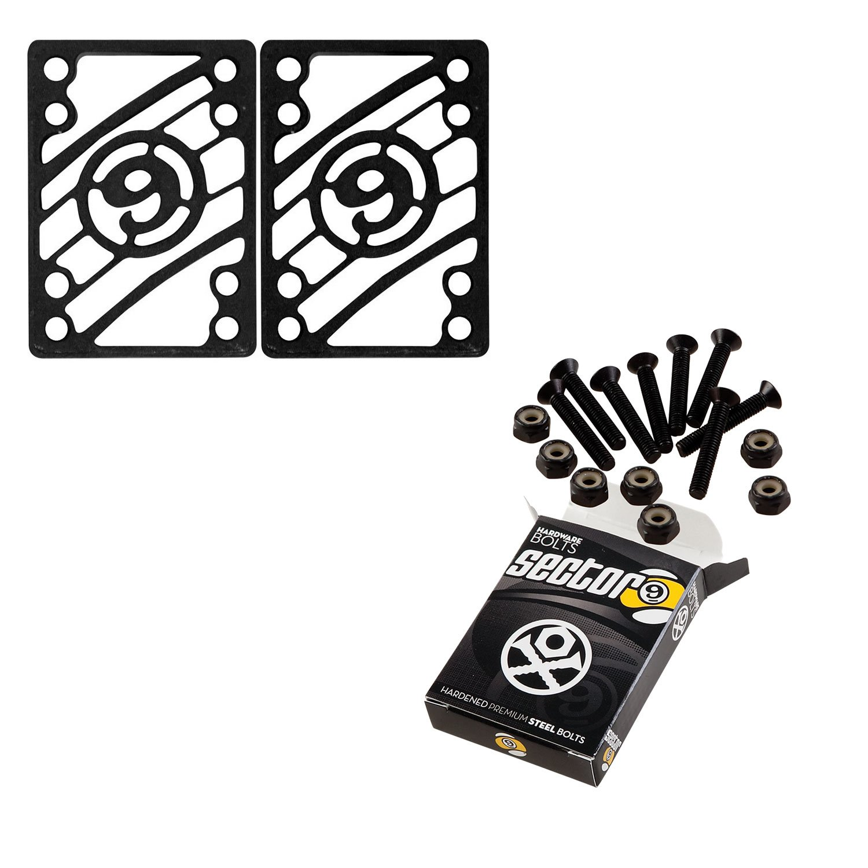 Sector 9 Longboard 1 1/4'' Hardware and 1/4'' Risers Riser Pad Kit