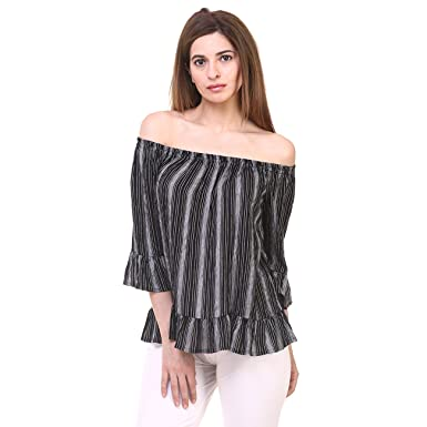 0f3c170b2d815a Hive91 Off Shoulder tops for Women Black Striped Printed Rayon Fabric Tops:  Amazon.in: Clothing & Accessories