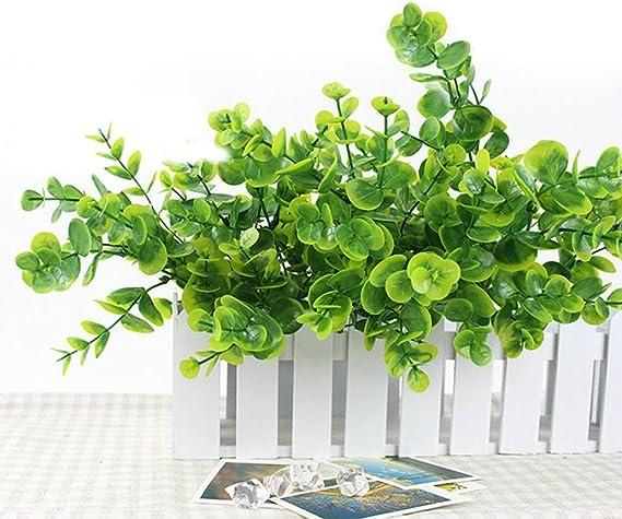 7 ramas pequeñas de plástico artificial de hiedra verde maceta interior artificial follaje realista colgante de hojas de eucalipto para el hogar al aire libre jardín boda decoración de pared: Amazon.es: Hogar