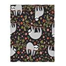 QH Cute Sloth Print Super Soft Throw Blanket for Bed Couch Sofa Lightweight Travelling Camping 58 x 80 Inch Throw Size for Kids Adults