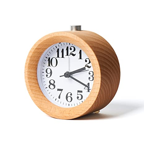 Kalulu Pequeño despertador de madera circular No ticking con Snooze y Nightlight Backlight Despertador digital de
