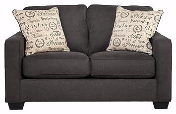 Ashley Furniture Signature Design - Alenya Sofa with 2 Throw Pillows - Microfiber Upholstery - Vintage Casual - Quartz