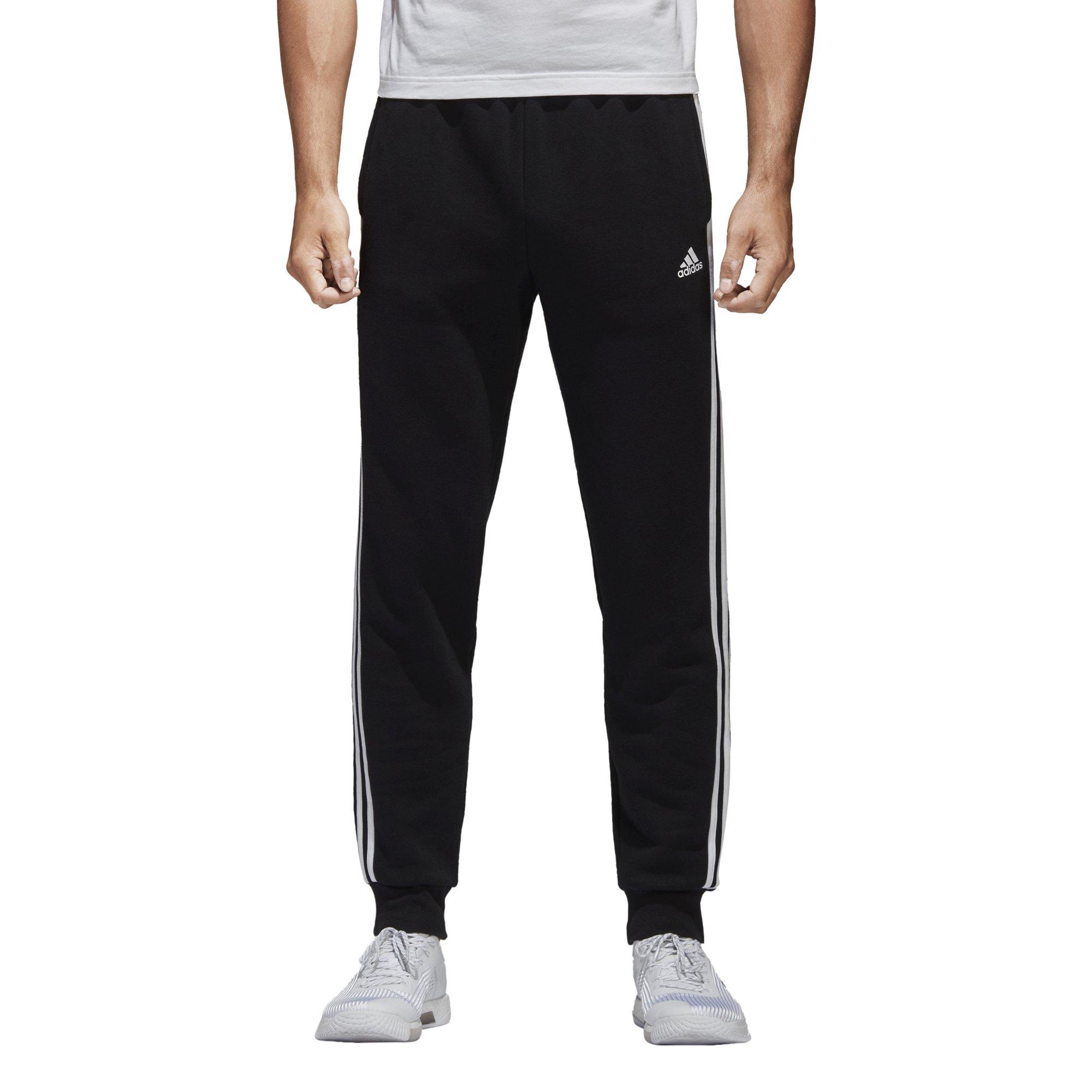 adidas Men's Essentials 3-Stripe Jogger Pants, Black/White, Medium