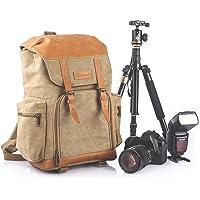 TARION M-02 Kamerarucksack Kameratasche Wasserabweisend aus Canvas Leinenstoff und Echt-Leder (Maße:29x18x42cm) Khaki für DSLR & Zubehör