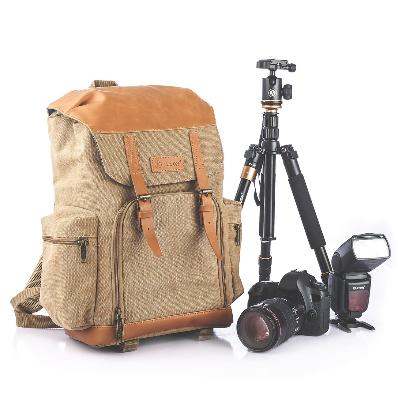 TARION M-02 Canvas Camera Backpack Water-Repellent Camera Bag for DSLR SLR Mirrorless Cameras & Accessories - Colour Khaki by TARION