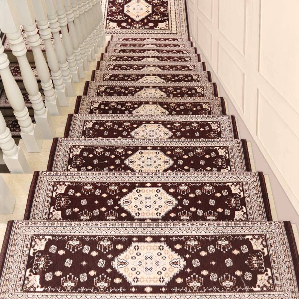 Haipeng self adhesive staircase treads carpet pads runner mats non slip stair step rugs european style customized 5 sizes 2 styles color