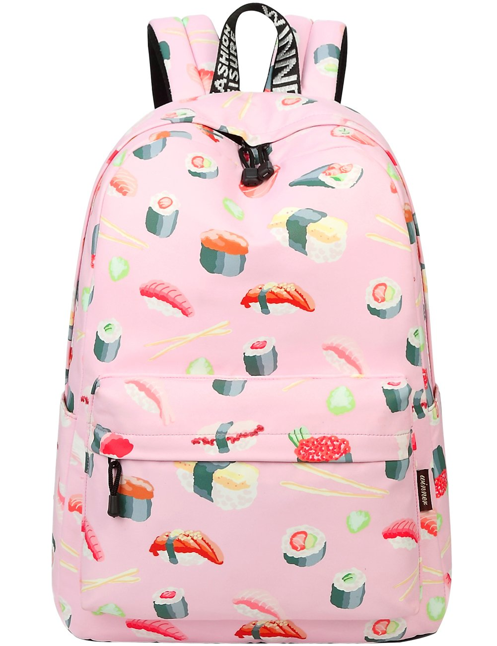 School Bookbags for Girls, Cute Sushi Backpack College Bags Women Daypack Travel Bag by Mygreen (Pink Sushi-Large)