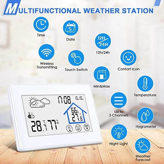 DIGOO Weather Stations Wireless Indoor Outdoor Thermometer Digital  Hygrometer with Wireless Sensor, Temperature and Humidity Monitor, Weather  Forecast
