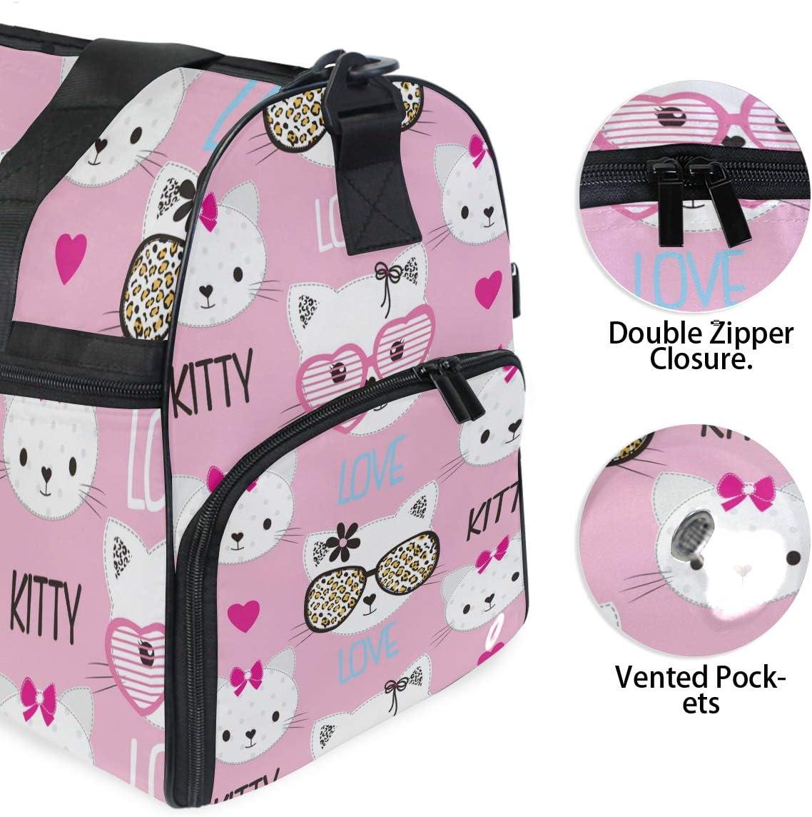 ALAZA Childish Pink Cats Emoji Sports Gym Duffel Bag Travel Luggage Handbag Shoulder Bag with Shoes Compartment for Men Women
