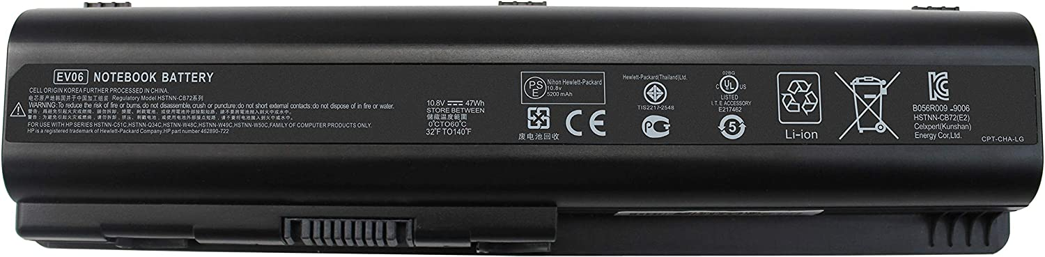 LNOCCIY New EV06 Laptop Battery for HP Pavilion dv4 dv6 G50 G60 G60-535DX G70 G71 Compaq Presario CQ40 CQ45 CQ50 CQ60 CQ70 484170-001 484171-001 484172-001 485041-001 485041-002
