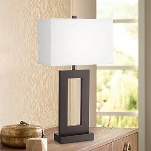 Marshall Modern Table Lamp Bronze Metal Open Window White Rectangular Shade for Living Room Family Bedroom Bedside Nightstand - 360 Lighting