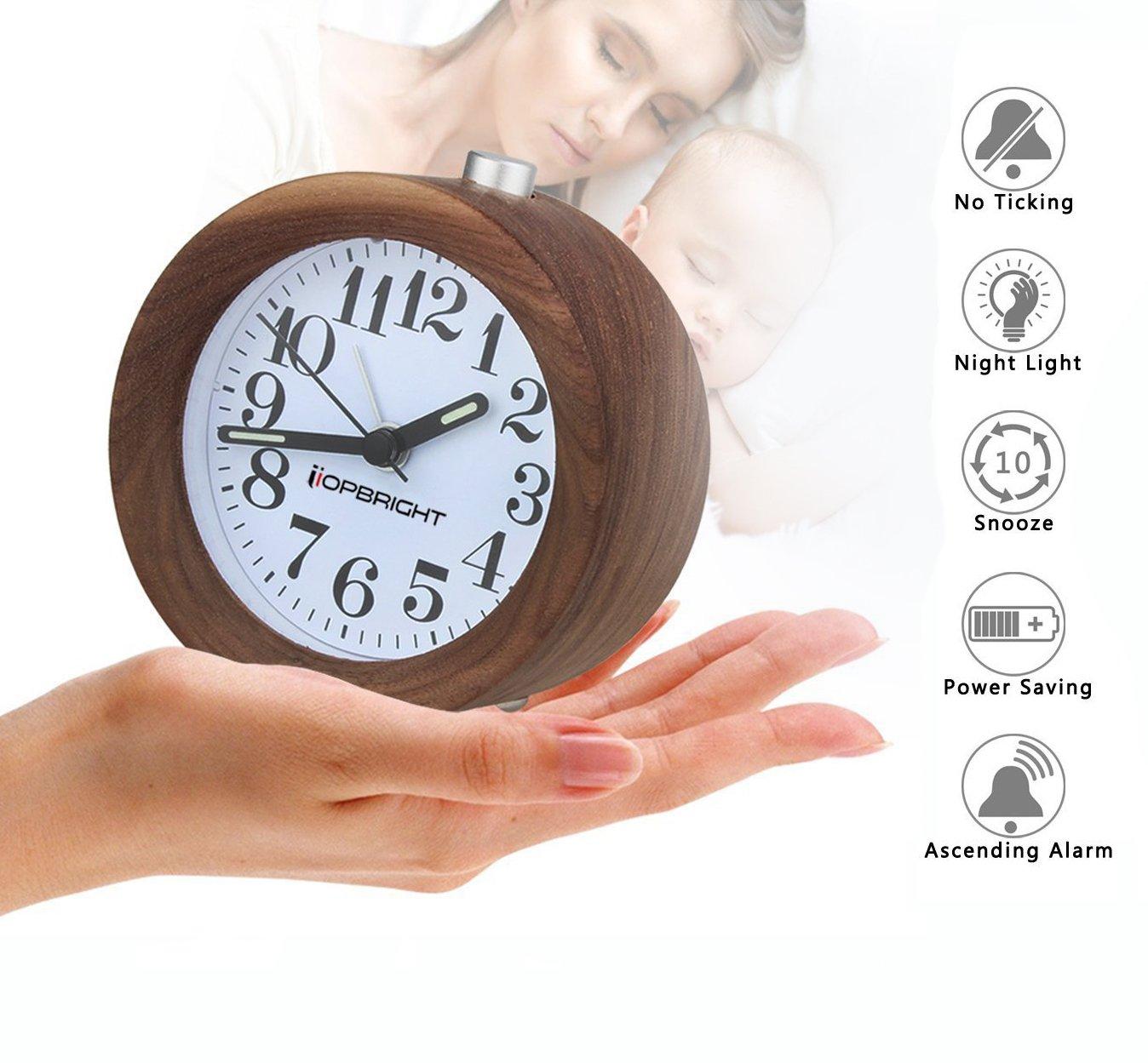 Crazydream Small Bedroom Silent Alarm Clock,Creative High Quality Walnut Wood Clock Travel Clock,Nightlight,Snooze,Silent Sweep Seconds,No Ticking,Luminous Hands,Battery Power (Walnut)