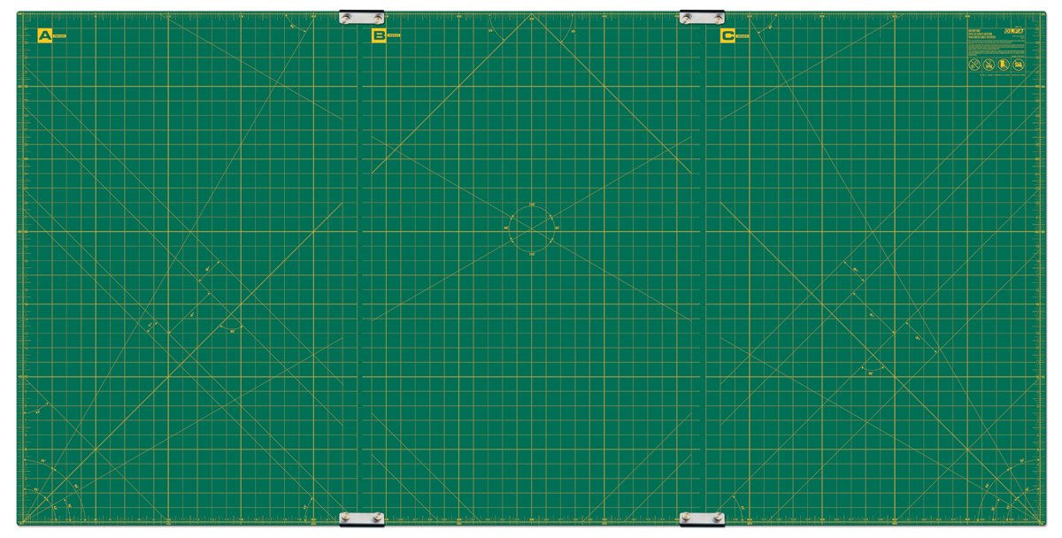 Olfa 35-Inch-by-70-Inch Gridded Cutting Mat Set Clipped 9894