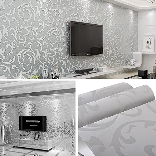 Silver And Grey Wallpaper Amazon Co Uk