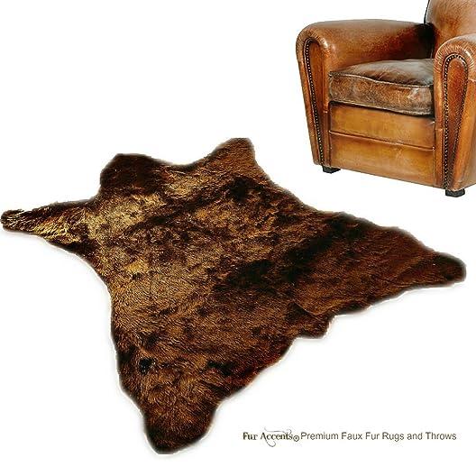 Fur Accents Faux Bear Skin Rug Faux Fur 5 x8 , Grizzly Bear Brown