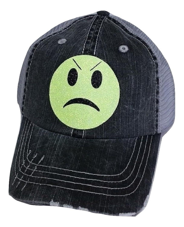 Loaded Lids Womens Emoji Bling Baseball Cap (Angry) at Amazon Womens Clothing store: