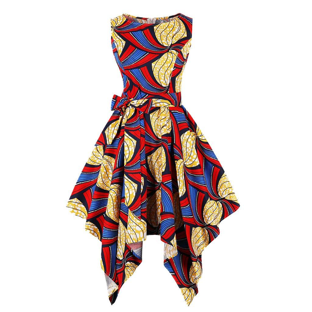 Mikilon Women Crwneck Sleeveless Boho Pattern A-Line Tie Belt Flare Pleated Short Dress with Asymmetrical Hem Yellow