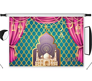 LB Arabian Night Moroccan Backdrop Magic Genie Islam Palace Photo Backdrop  7x5ft Fabric Kids Princess Baby Shower Birthday Party Banner Photo Booth
