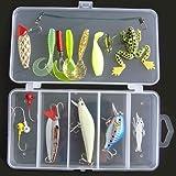 Lixada Metal Fishing Lure Set Hard Soft Bait Minnow Spoon Crank Shrimp Jig Hook with Fishing Tackle Box,16Pcs