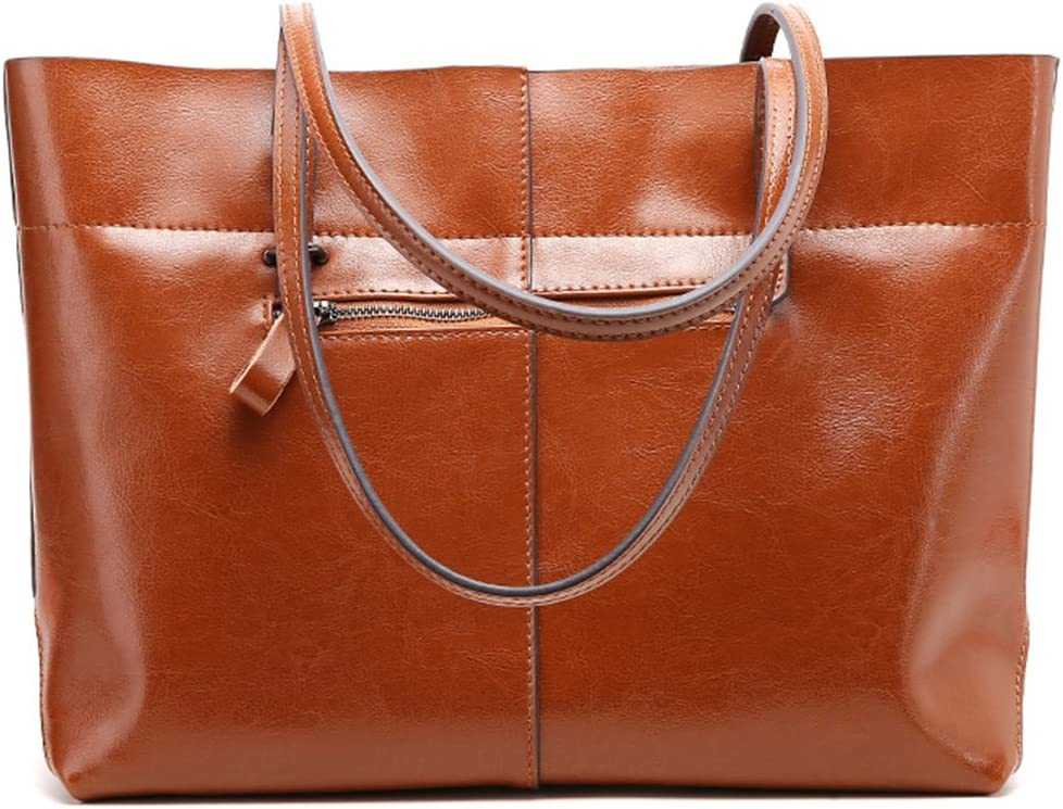 Brown TENDYCOCO Womens Exquisite Split Leather Tote Handbag,for Work and Daily Life Shoulder Bag