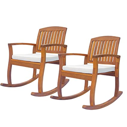 Incredible Outsunny Acacia Wood Outdoor Rocking Chair With Cushioned Seat 2Pc Machost Co Dining Chair Design Ideas Machostcouk