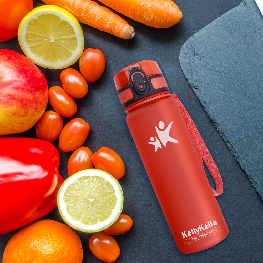 Gym Bicycle Yoga Fitness Workout Water Bottle for School OMORC Sports Water Bottle with Time Marker,500ml//900ml BPA Free Tritan Plastic Leakproof Drinking Bottle with Filter/&Locking Flip-Flop Lid