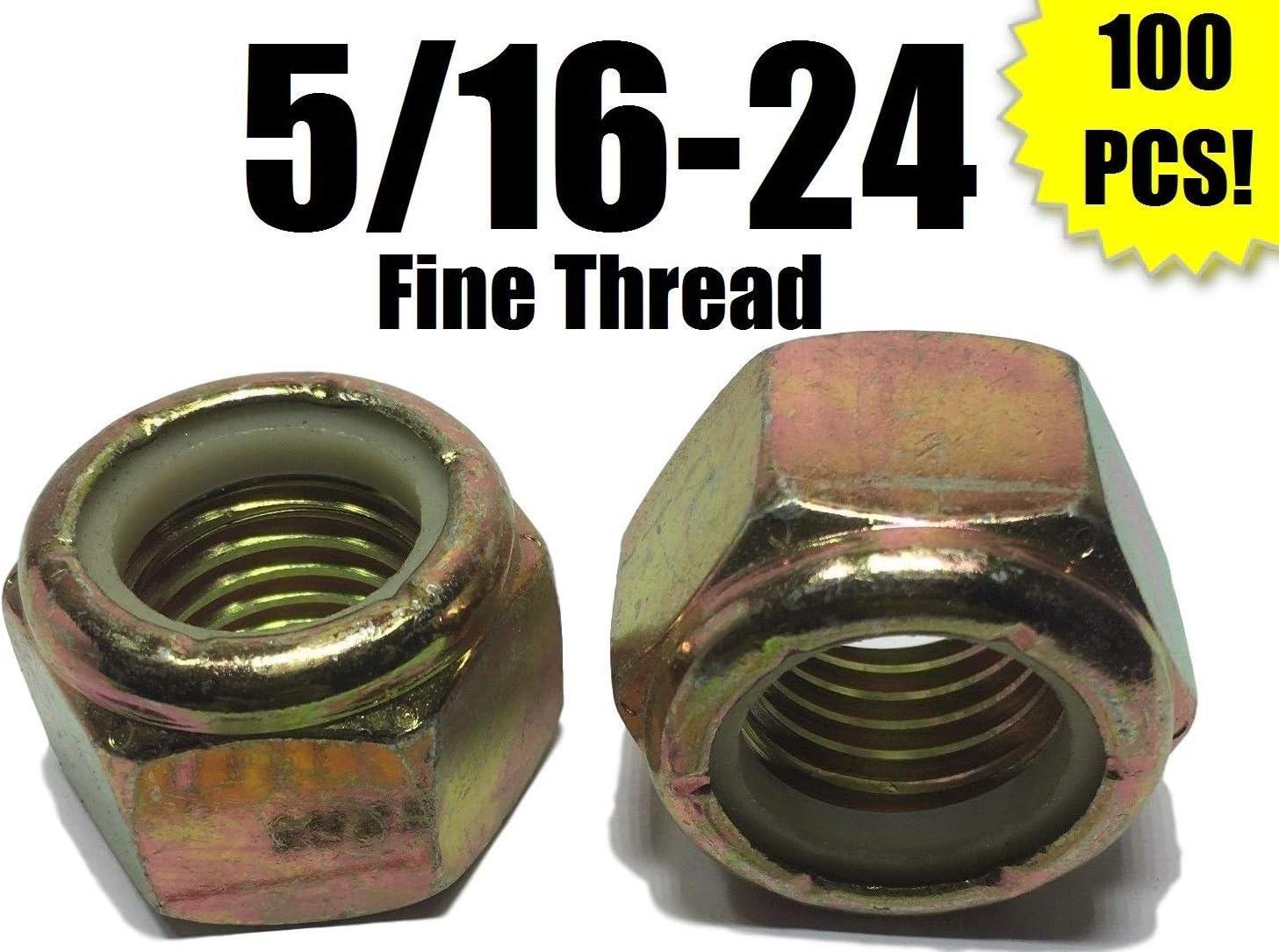 PCs 100 5//16-24 Fine Grade 8 Nylon Insert Lock Replacement Threaded Nuts Assortment Set Nylock Yellow Zinc Plated
