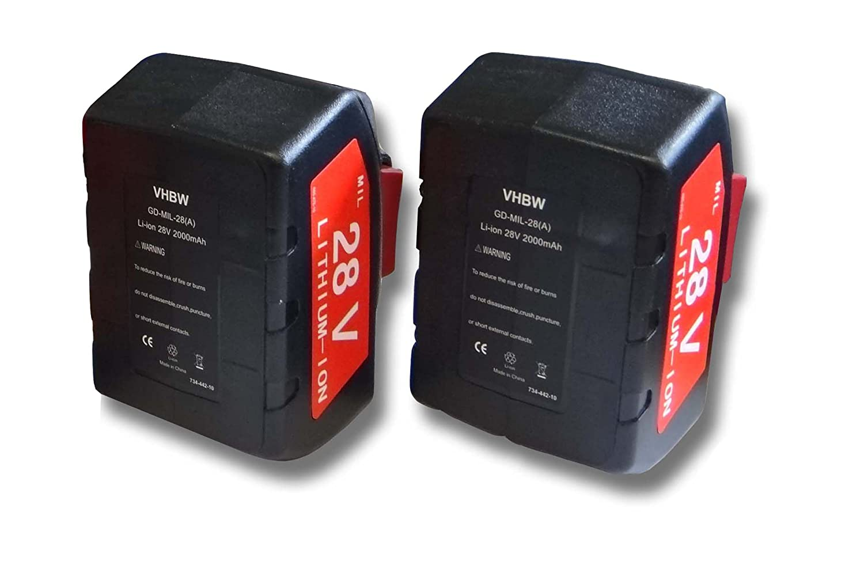 vhbw Sparset 2x Li-Ion Akku 2000mAh (28V) für Werkzeuge Milwaukee HD28 PD Akku-Schlagbohrschrauber etc. wie 48-11-1830, 48-11-2830, 48-11-2850.