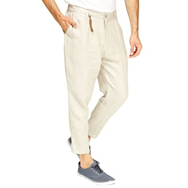 a7afc1dbb56d 2k17July FESAL Mens Ex Zara 100% Cotton Cropped linen Fit Suit Summer party pants  Trouser Natural